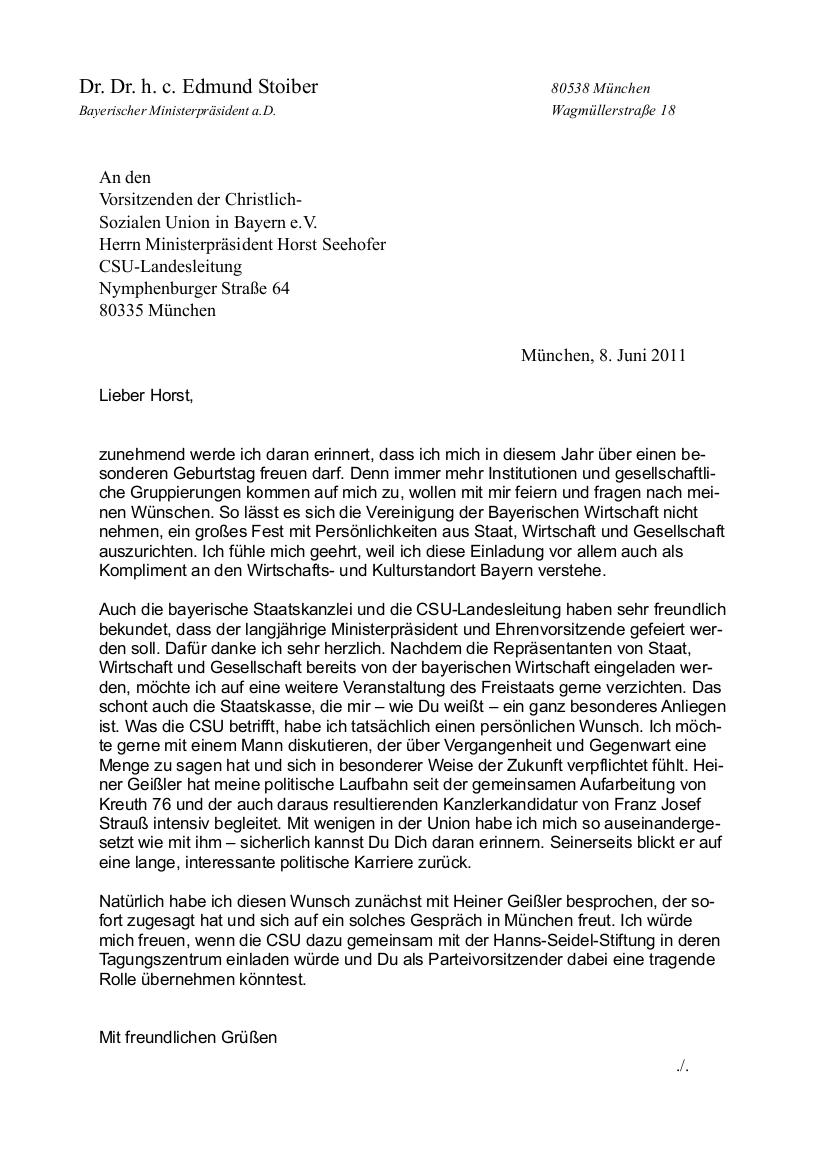 Briefe Schreiben Einleitungssätze : Juni dr edmund stoiber